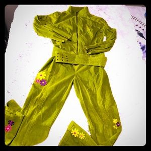Vintage Green Flower Power Bedazzled Jumpsuit